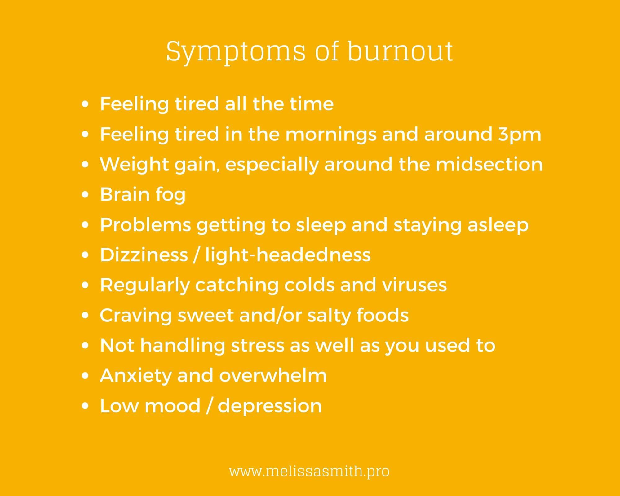 burnout symptoms list
